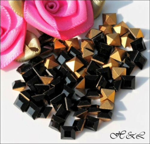 Swarovski Pointed JET BLACK Crystal Square vintage 4401 Rhinestones 4mm 4400