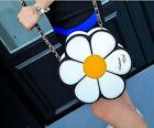 Women Fashion Splice Daisy Flower Shape Handbag Boho Leather Chain Shoulder Bags