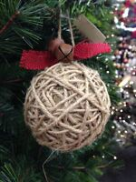 Home Accents Wishes & Wonder Christmas Lodge Burlap Twine Ball Ornament