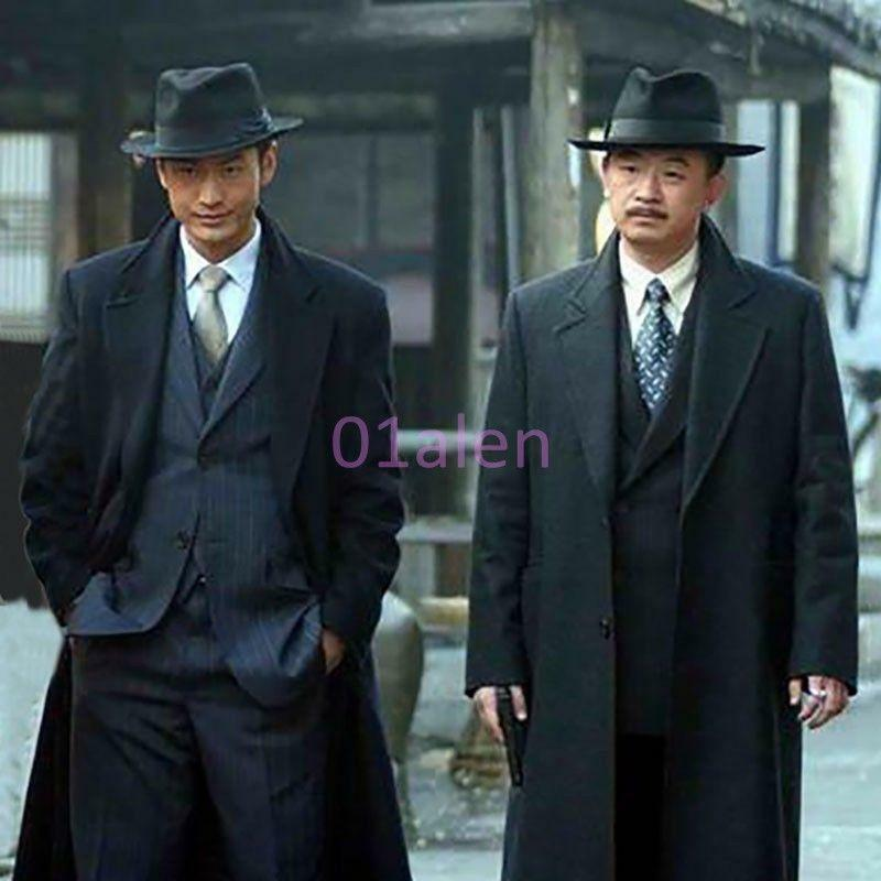 New Mens Single Breasted Wool Blend Long Vintage Coats Outdoor Formal Clothes