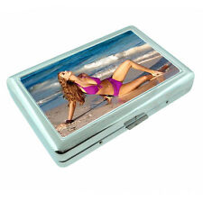 Beach Pin Up Girls D6 Silver Metal Cigarette Case RFID Protection Wallet