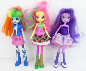 "3-pcs My Little Pony MLP 9"" Equestria Girls Friendship Dolls Used w/ Wear Hasbro"