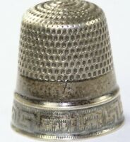 ANTIQUE GOLDSMITH & STERN STERLING SILVER GREEK KEY THIMBLE SIZE 7