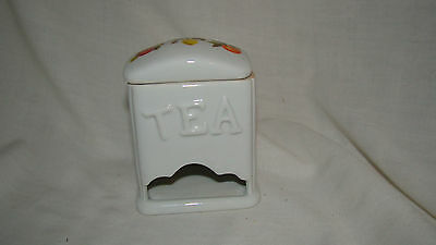 """Porcelain Tea Container/Holder with Fruit Design on Lid - Approx. 4"""" x 3"""" x 2"""""""