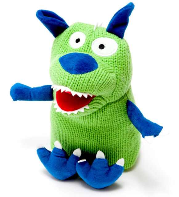 Best Years Ltd - 100% Acrylic Knitted Monster Soft Toy Green & Blue - Baby Safe
