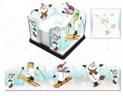 Snowman Sled Ski Skate Sticky Note Holder /& Desk//Fridge Magnetic Organizer USA