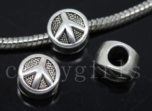 8//30//150pcs Tibetan Silver Bulk big hole peace Beads European Charms Beads DIY