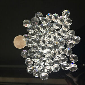 100-14MM AAA 2 HOLE CLEAR OCTAGON CRYSTAL GLASS BEADS CHANDELIER CHAIN PART