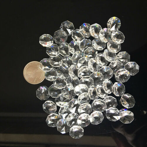 100Pcs 14MM 2 HOLE CLEAR OCTAGON CRYSTAL GLASS BEADS CHANDELIER CHAIN DIY PART