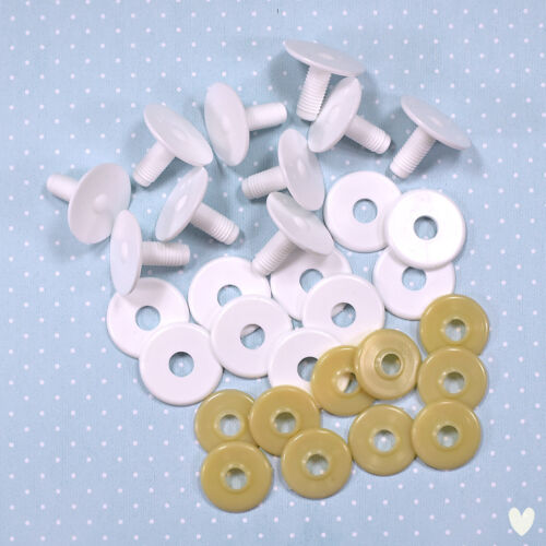 15mm White Plastic Safety Doll Joints x 10 Bear Doll Soft Toy Making