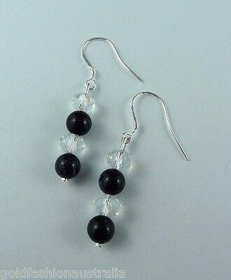 Black Sparkling Crystals Earrings Silver Plated Hand made