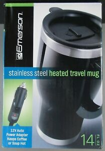 Stainless Steel Heated Travel Mug 12v Auto Power Adapter Emerson 14 Fl Oz Consumer Electronics