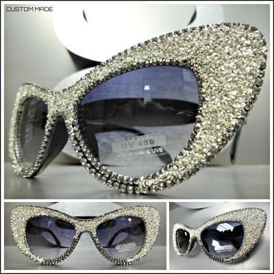 CLASSIC VINTAGE RETRO Style SUN GLASSES Black Frame Bling Rhinestones Crystals