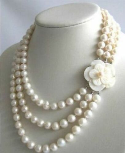 3Row 7-8mm White Freshwater Pearl Necklace Shell Clasp Natural 17-19 Inch