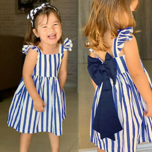 Infant-Kid-Baby-Girl-Backless-Bow-Stripe-Sleeveless-Party-Princess-Dress-Cloth