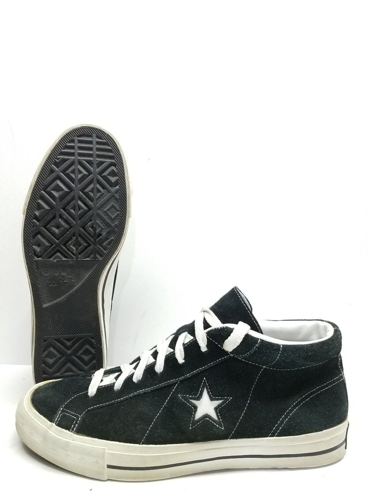RARE VTG Converse One Star High Top Skate scarpe Uomo Uomo Uomo Suede scarpe da ginnastica nero bianca 4d1203