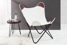 Butterfly Sessel Stuhl TEXAS weiss Leinen Loungesessel Esszimmer Design NEU