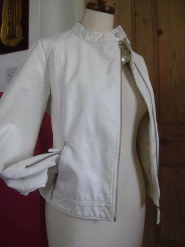 12 White Biker Uk M 10 Faux Ladies amp;s Bomber Leather Jacket New Collection Coat BTSHqanxv