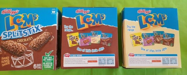 Kellogg's LCMs Choc Chip, Chocolatey & Yoghurty Puffed Rice Snack Bars 3x6 Packs