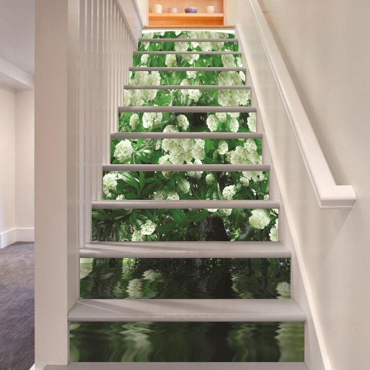 3D Weiß Blaume 544 Stair Risers Dekoration Fototapete Vinyl Aufkleber Tapete DE
