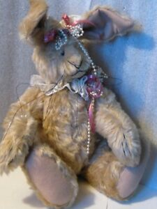 """Rabbit artist made Vintage sweet 12"""" Mohair jointed lace pearls late 80s PERFECT"""