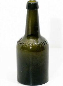 Antique-Vintage-Dark-Brown-Green-Medicine-Bottle-JOHANN-HOFF-Approx-7-1-2-034-Tall