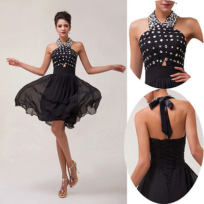 PLUS Beaded Formal Evening Short Gown Party Prom Ball Bridesmaid Dresses BLACK