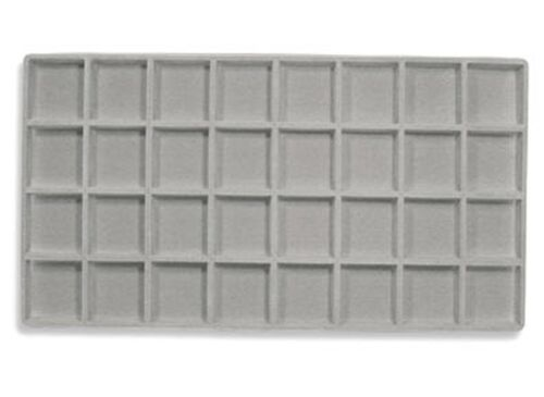 LOT OF 6  FLOCKED 32 COMPARTMENT GRAY INSERT 14 X 7 1//2