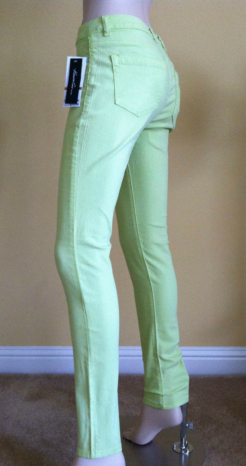 KENNETH COLE The Gia Jeans Candy Green Shimmer Skinny Slim Sz 29