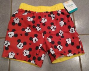 66ea392239 New Disney Baby Boys Mickey Mouse Red Swim Trunks Shorts Bathing ...