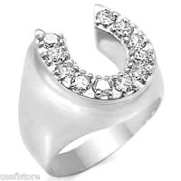 Horse Shoe Lucky Cz Rhodium Electroplated Mens Ring