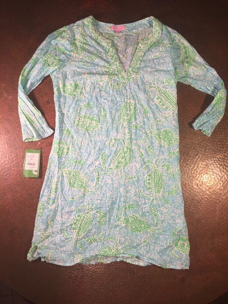 Woherren Lilly Pulitzer Tunic Dress Spa Blau Get Crackin XS