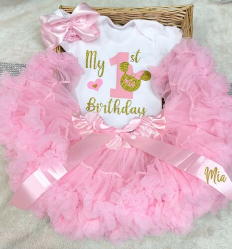 Birthday Girls First Princess Outfit Cake Smash Girl  Any Name Baby Minnie Pink
