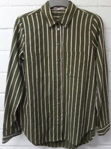 Womens-Ladies-New-Casual-Olive-Green-Striped-Pocket-Cotton-Shirt-Dress-Top-8-16