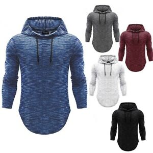 Men-039-s-Slim-Fit-Long-Sleeve-Shirts-Hooded-Muscle-Tops-Hoodie-Casual-Basic-T-shirt
