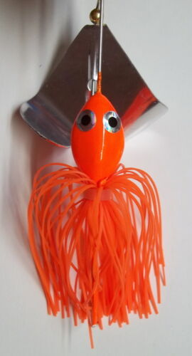 "- Bass Fishing 1//2 Oz Orange Custom Made /""Head Thumper/"" Topwater Buzzbait Lure"
