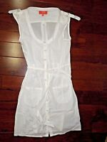 Tigerlily Pure White Cotton Full Snap Swimsuit Swim Cover Dress Size 8