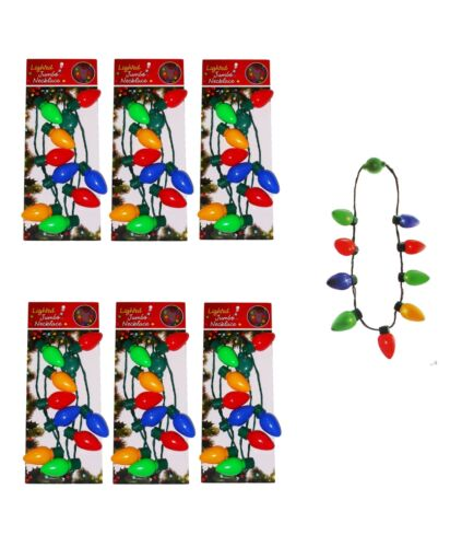 6 Pc Christmas Necklace Lighted Xmas Bulbs Kids Adults Party Favors Light Up