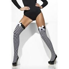 Womens Black White Chequered Thigh High Stocking Bow Police Hen Fancy Dress Fun