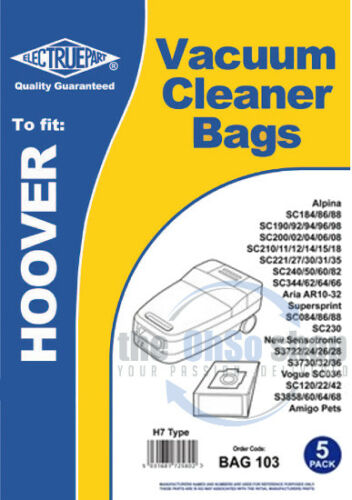 SC282 SC240 5 x HOOVER  Vacuum Cleaner Bags H7 Type ALPINA SC250 SC260