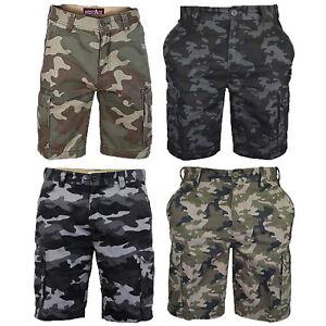 Para-Hombre-Pantalones-Cortos-Estilo-Cargo-De-Camuflaje-Combate-Largo-Hasta-La-Rodilla-Ejercito