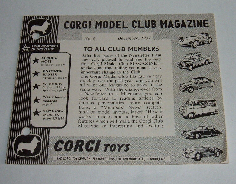 Original Corgi Club Magazine No. 6, December 1957, - Superb.