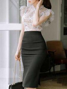 camicia 3733 pizzo bianco da raffinata elegante e grigio Gonna donna tubino completa gqw4P0F