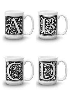 european old world monogram coffee tea mug personalized block letter