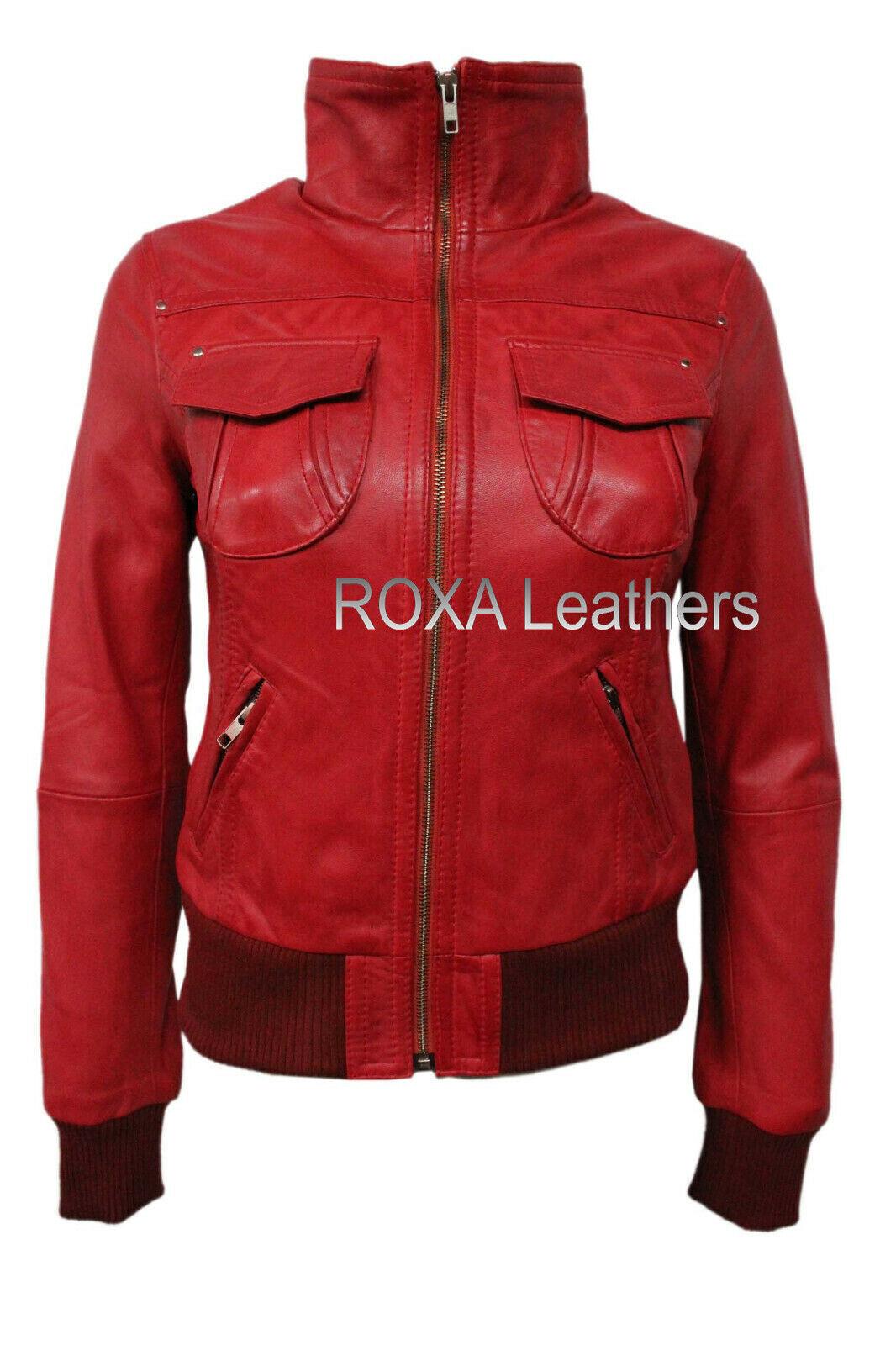 ROXA Latest Women Bomber Genuine Lambskin Real Leather Jacket Fashionable Zipper
