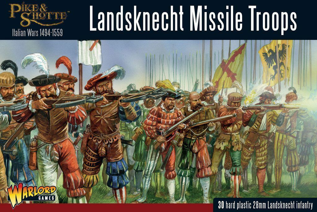 Warlord Games Pike & Shotte Landsknecht Missile Troops 28mm Tabletop Italian War