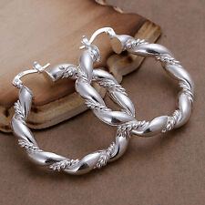 Womens 925 Sterling Silver Plated Large chunky Twisted hoop Earrings.40mm by 36m