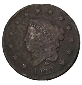 1823 Coronet Liberty Head Large Cent, RARE KEY DATE, Good Filler For Book