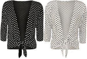 Nuevo-Para-Mujer-Talla-Plus-Polka-Dot-Spot-tie-up-Senoras-Imprimir-encogiendose-de-hombros-Top