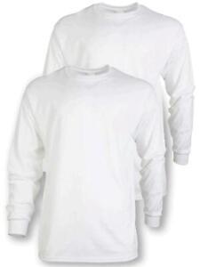 Gildan Men's Ultra Cotton Adult Long Sleeve T-Shirt, 2-Pack,, White, Size